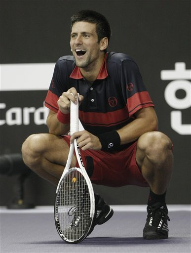 Novak Djokovic Of Serbia Reacts