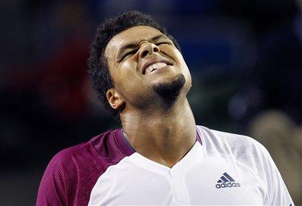 France's Jo-Wilfried Tsonga Reacts
