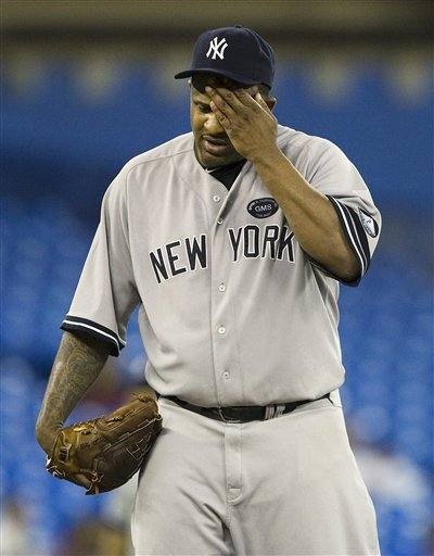 New York Yankees Starting Pitcher CC Sabathia Wipes