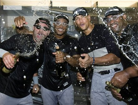 New York Yankees Celebrate With Alex Rodriguez, Second From Right,