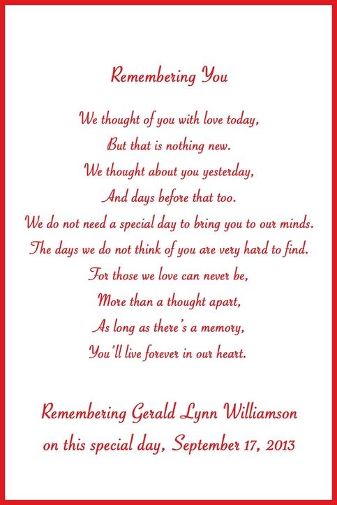 In Loving Memory Cards Custom Wedding Memorial Poem