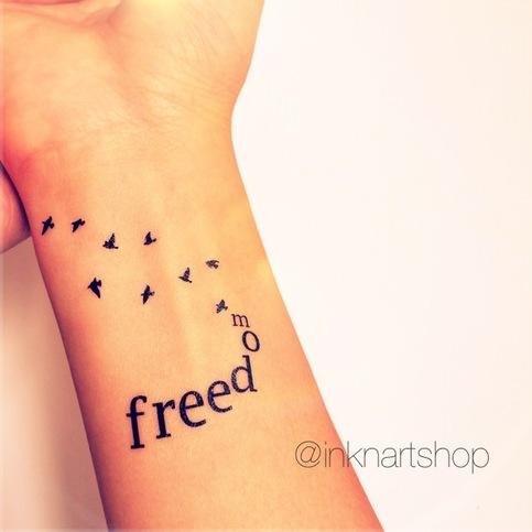 2pcs FREEDOM With Flying Birds Tattoo InknArt Temporary Tattoo Hand Writing Temporary Tattoo