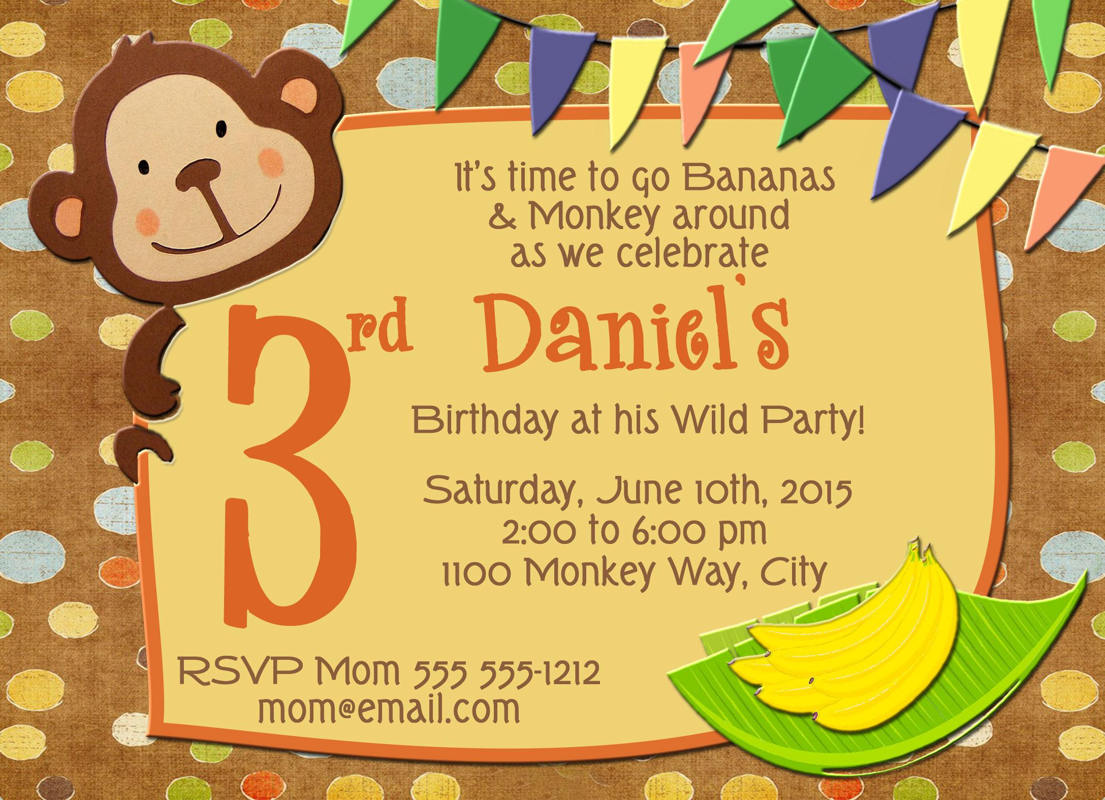 monkey boy wild party personalized birthday invitation 2 sided birthday card party invitation monkey wild party