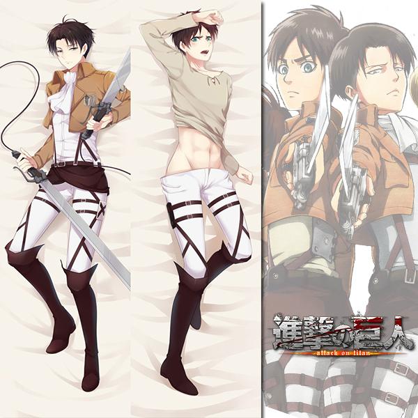 brand new levi and eren attack on titan dakimakura hugging body pillow case anime male4
