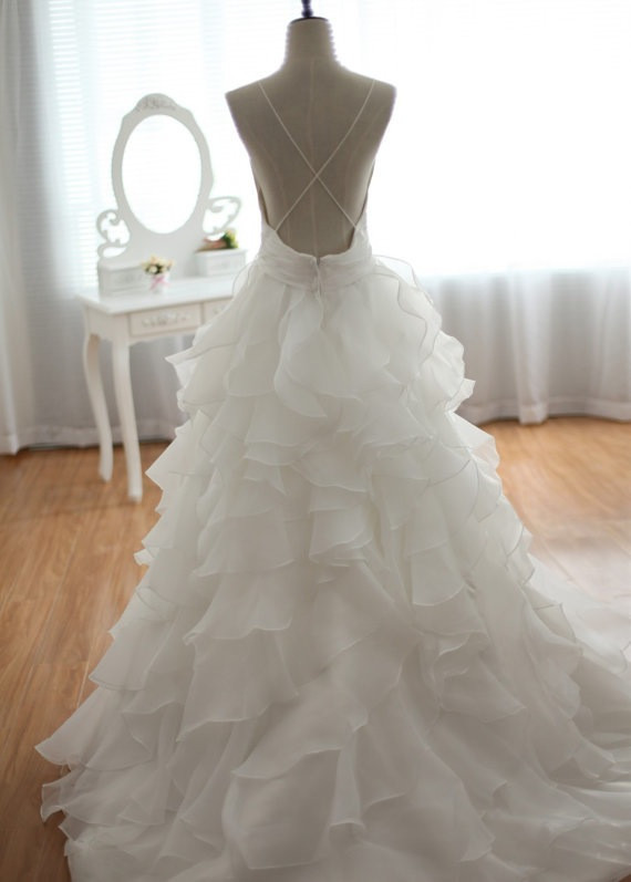 V Neck Empire Waist Draping Wedding Dress Bridal Gown