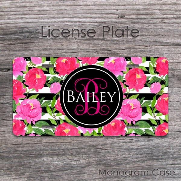 Cute Peonies Personalized License Plate, Custom Floral Car ...