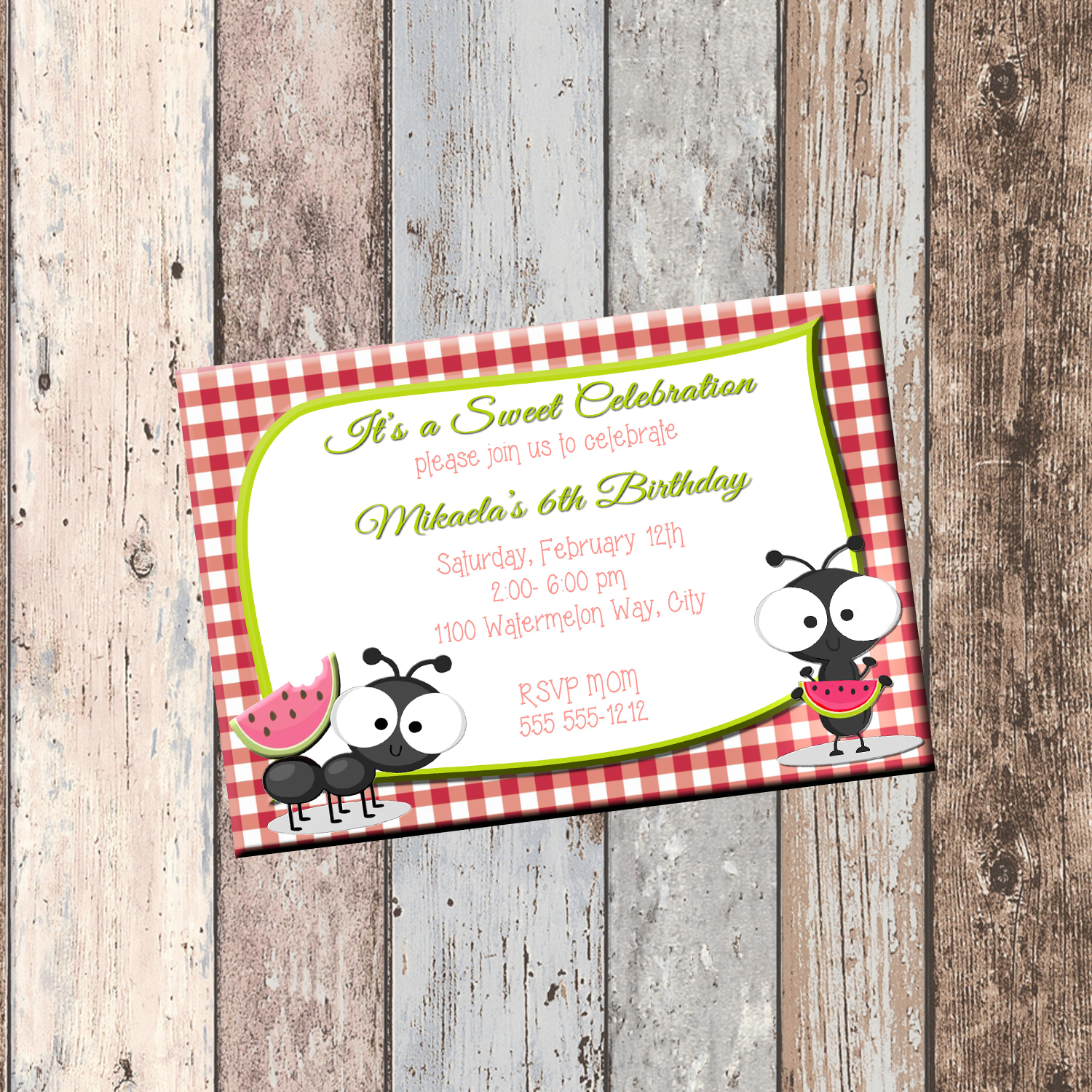 picnic ants watermelon personalized birthday invitation 1 sided birthday card picnic party invitation