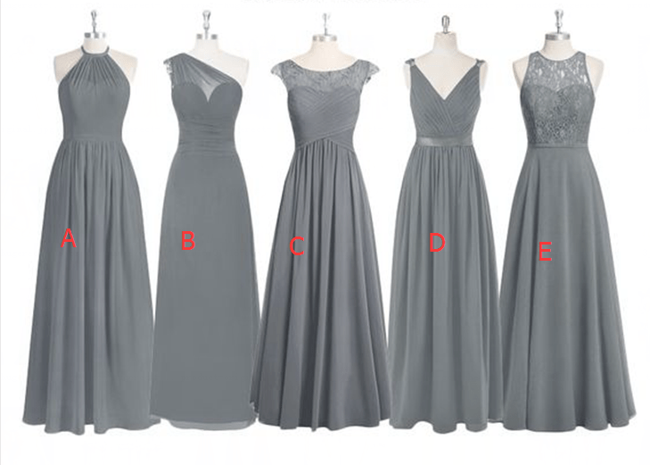 Grey Lace Bridesmaid Dresses,Mismatched Bridesmaid Dress
