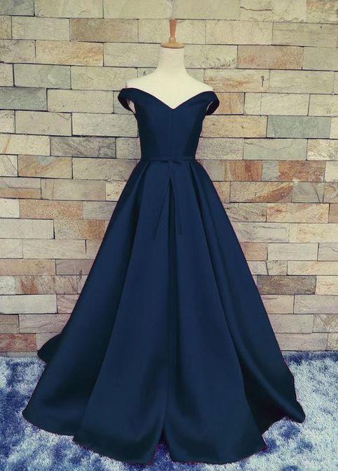 Navy Off Shoulder Evening Prom Dresses A Line Long Prom