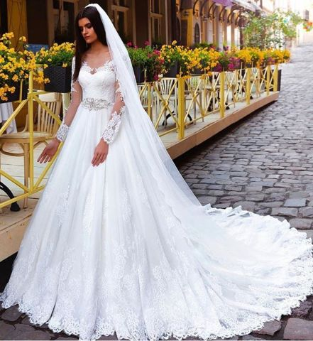 Crystal Elegant Lace bridal gowns bridal dresses Princess Long     Crystal Elegant Lace bridal gowns bridal dresses Princess Long Sleeve Wedding  Dresses