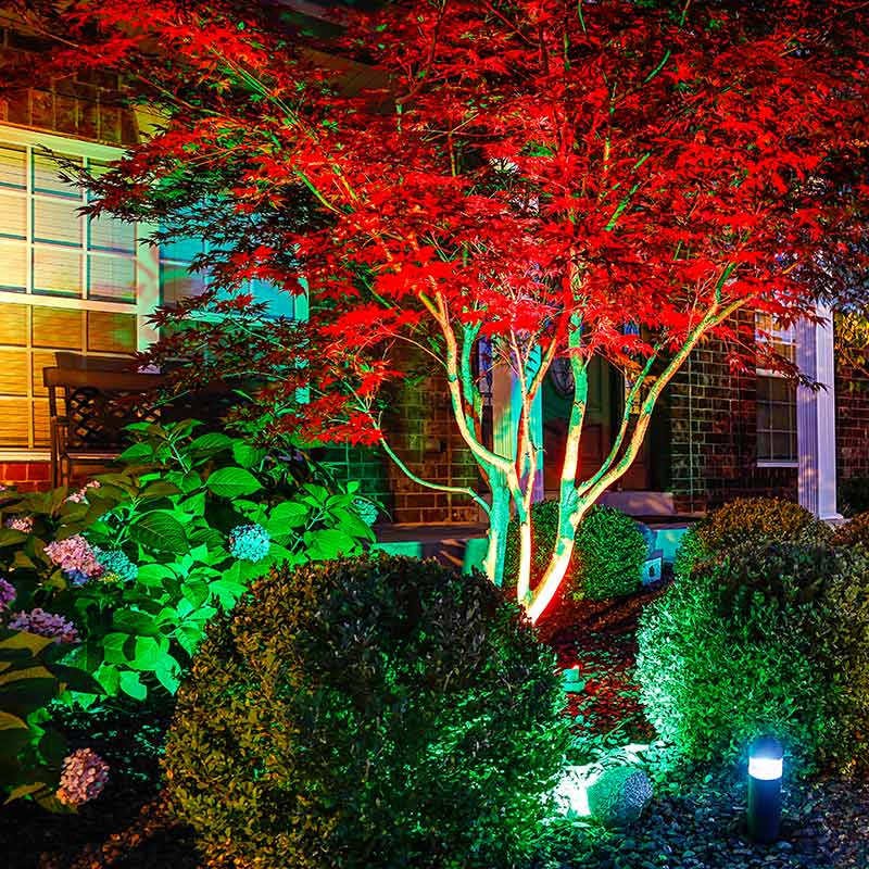 g lux series landscape lighting kit 4 color changing rgb spotlights low voltage transformer plug and play