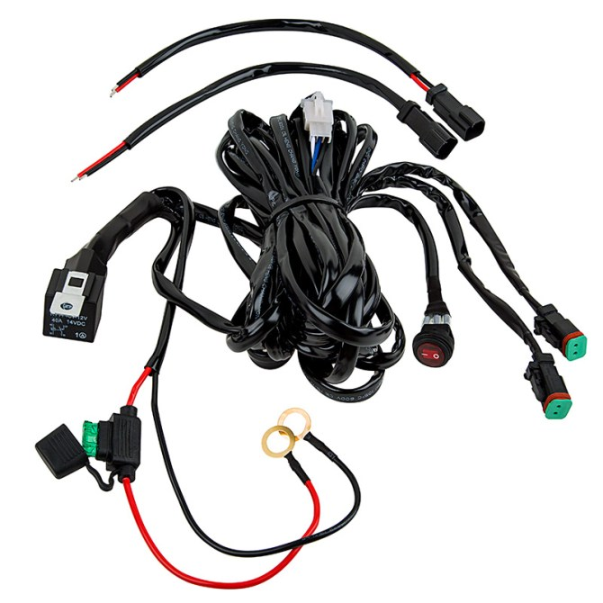 led light wiring harness with relay and weatherproof switch  dual output   dt connector