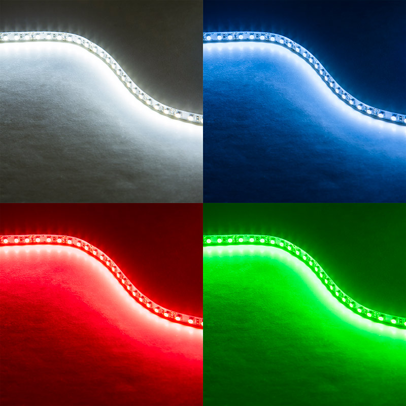 Led Light Strips Led Tape Light With 18 Smds Ft 3 Chip Smd Led 5050 On Showing Beam Pattern In Cool White Blue Red And Green