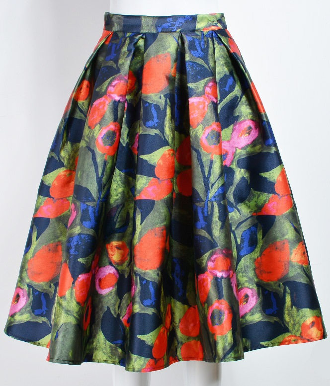 Blue Vintage Floral Elegant Satin A Line Long Umbrella Midi Dress Skirt