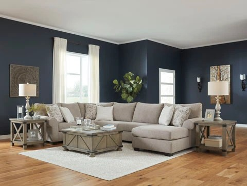 benchcraft by ashley baranello stone upholstered three piece sectional w chaise 5150317 34 48