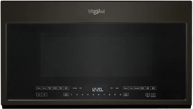 whirlpool 2 1 cu ft black stainless over the range microwave wmh54521jv