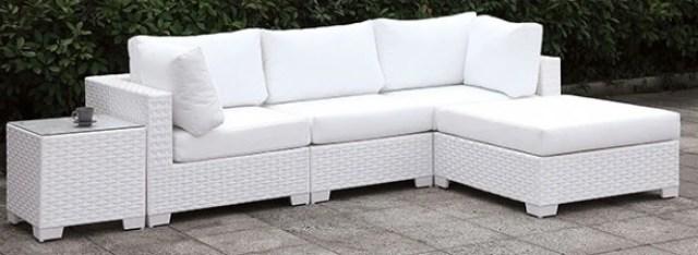 furniture of america somani ii white wicker white cushion 7 piece patio set cm os2128wh set13