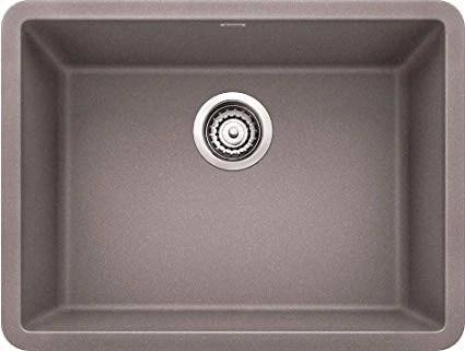 blanco precis metallic gray 24 silgranit granite composite undermount single bowl kitchen sink 522413