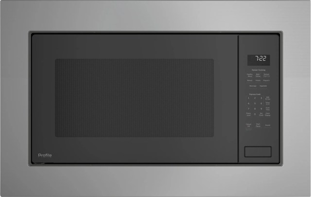 ge profile 2 2 cu ft gray built in microwave oven peb7227andd