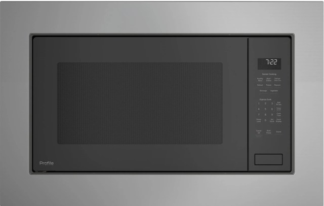 ge profile 2 2 cu ft stainless steel built in microwave oven peb7227slss