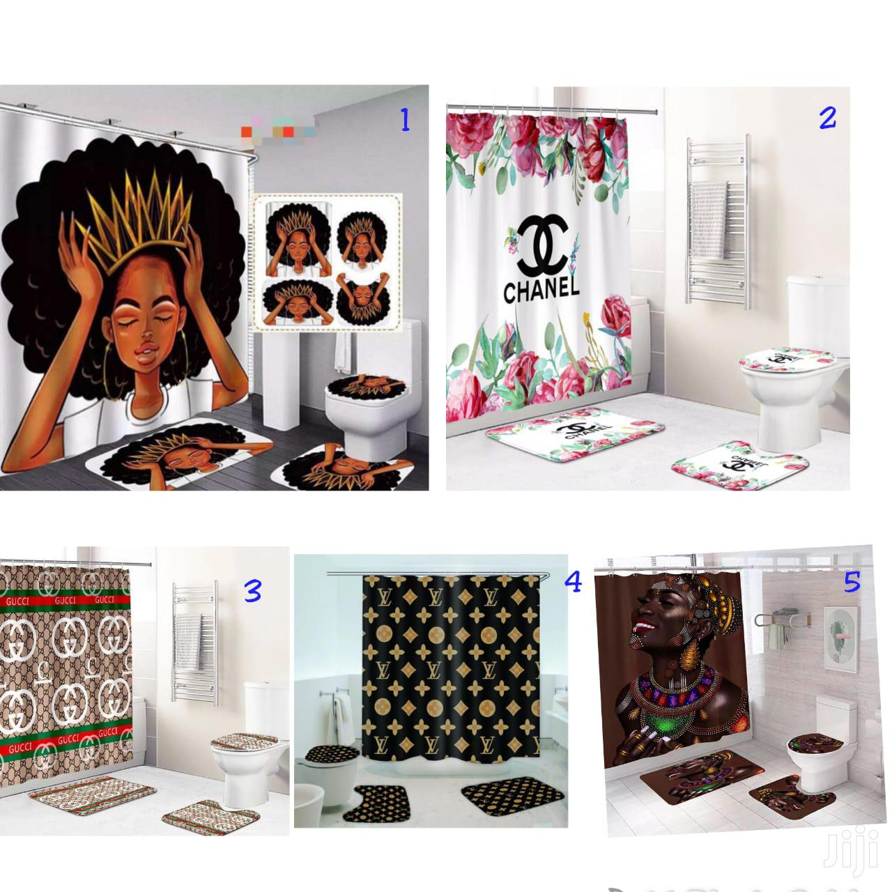 4 in one shower curtain with bathroom rugs