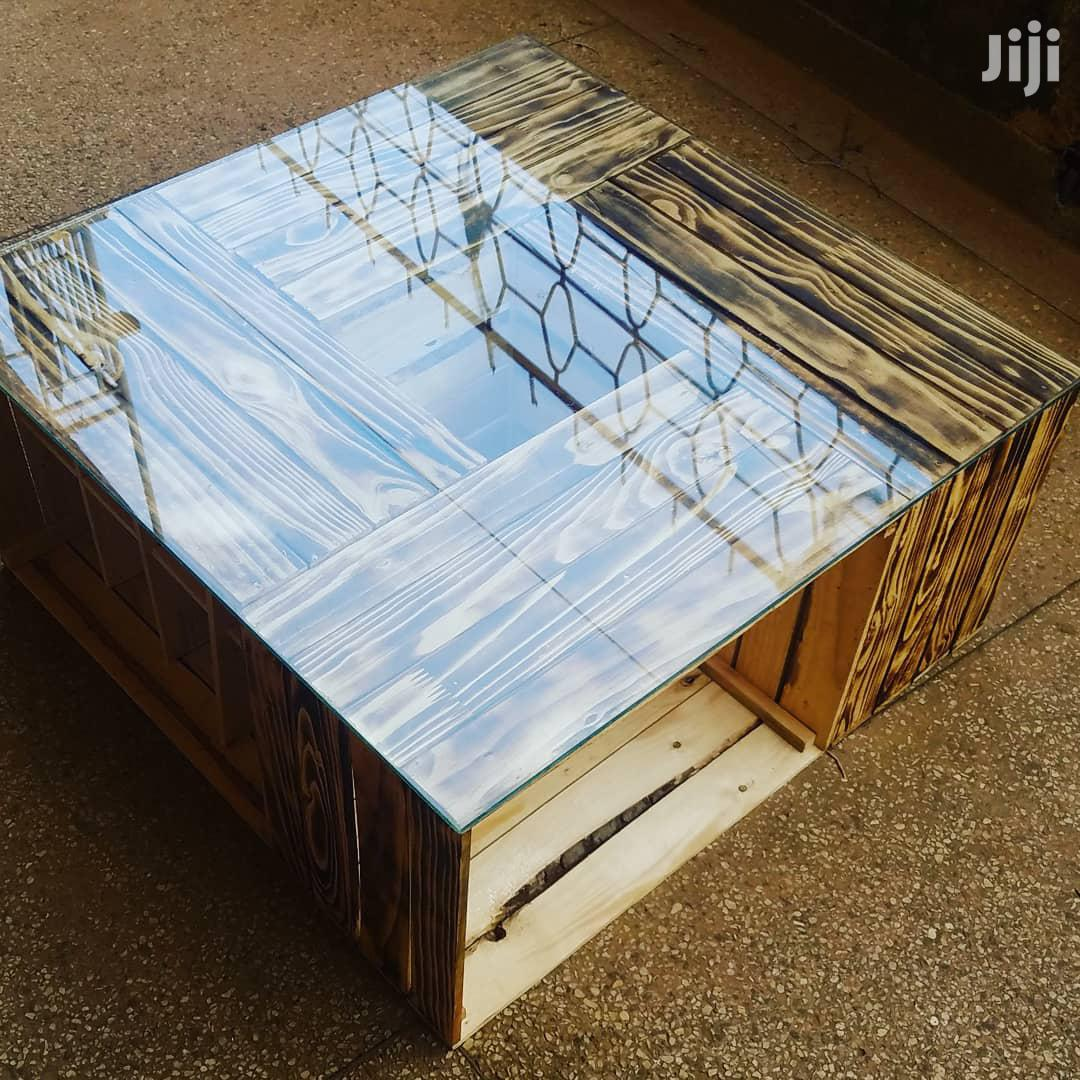 crate pallet rustic wooden modern shou sugi glass top coffee table
