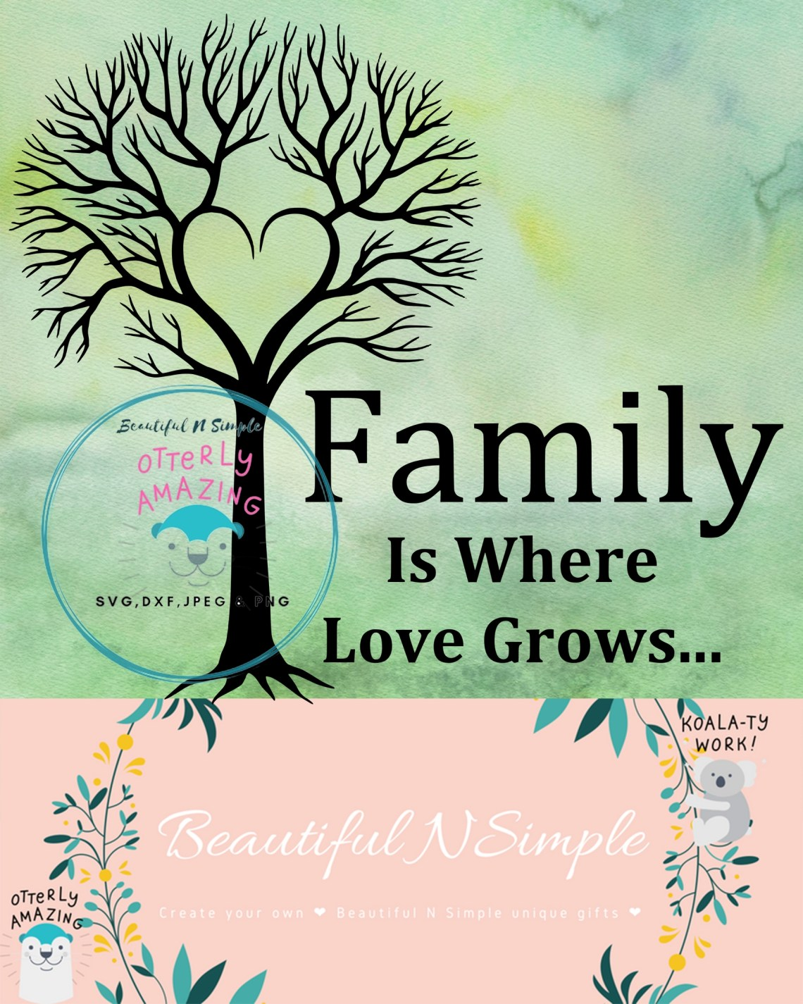 Download Family is Where Love Grows, Family Tree, SVG DXF File ...