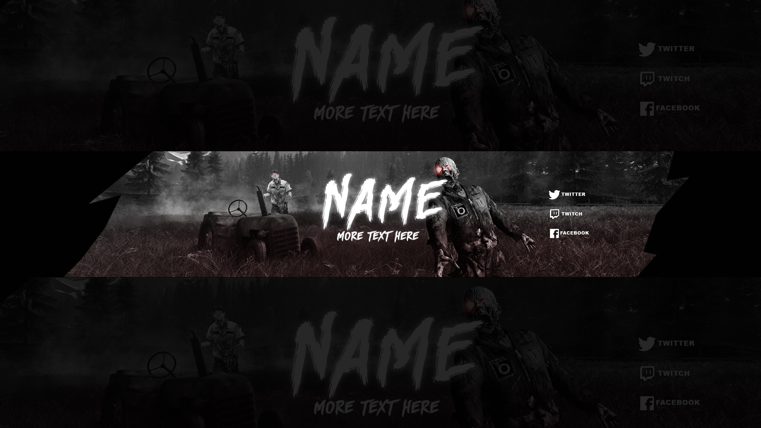 FREE YOUTUBE BANNER TEMPLATE  ZOMBIE THEME