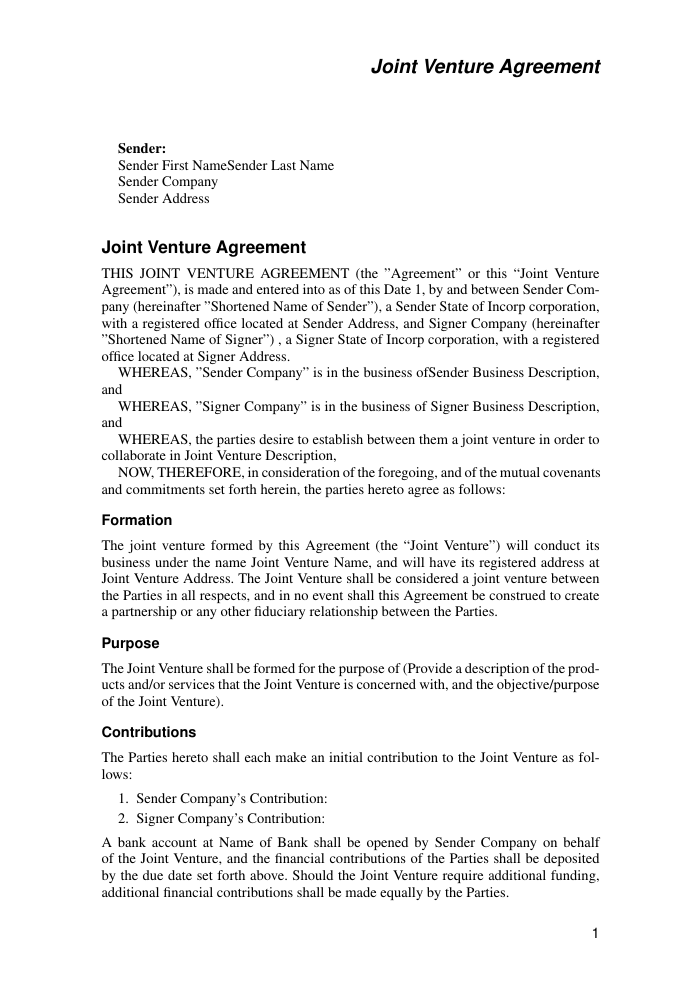 Joint venture agreement sample contracts and agreements. Joint Venture Agreement Template Template Agreements