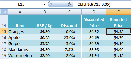 Ceiling excel example for Floor function example