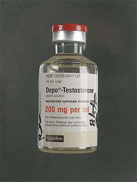 A glass vial of testosterone.