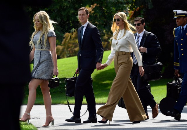 Tiffany Trump Left Followed By From Left Jared Kushner And Ivanka Trump Walk