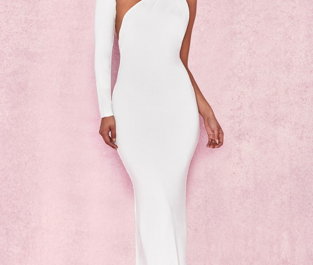 Merveille White Wrap Sleeve Maxi Dress
