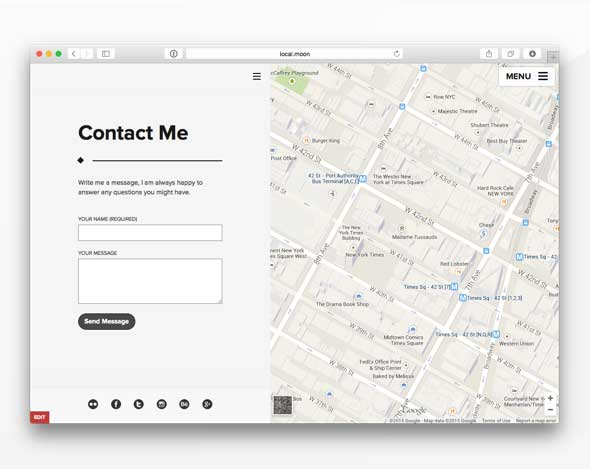 Theme for photographers with contact form