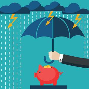Savings piggy bank being sheltered by an umbrella due to thunder, lightening and rain. Protect your savings with a rainy day fund.