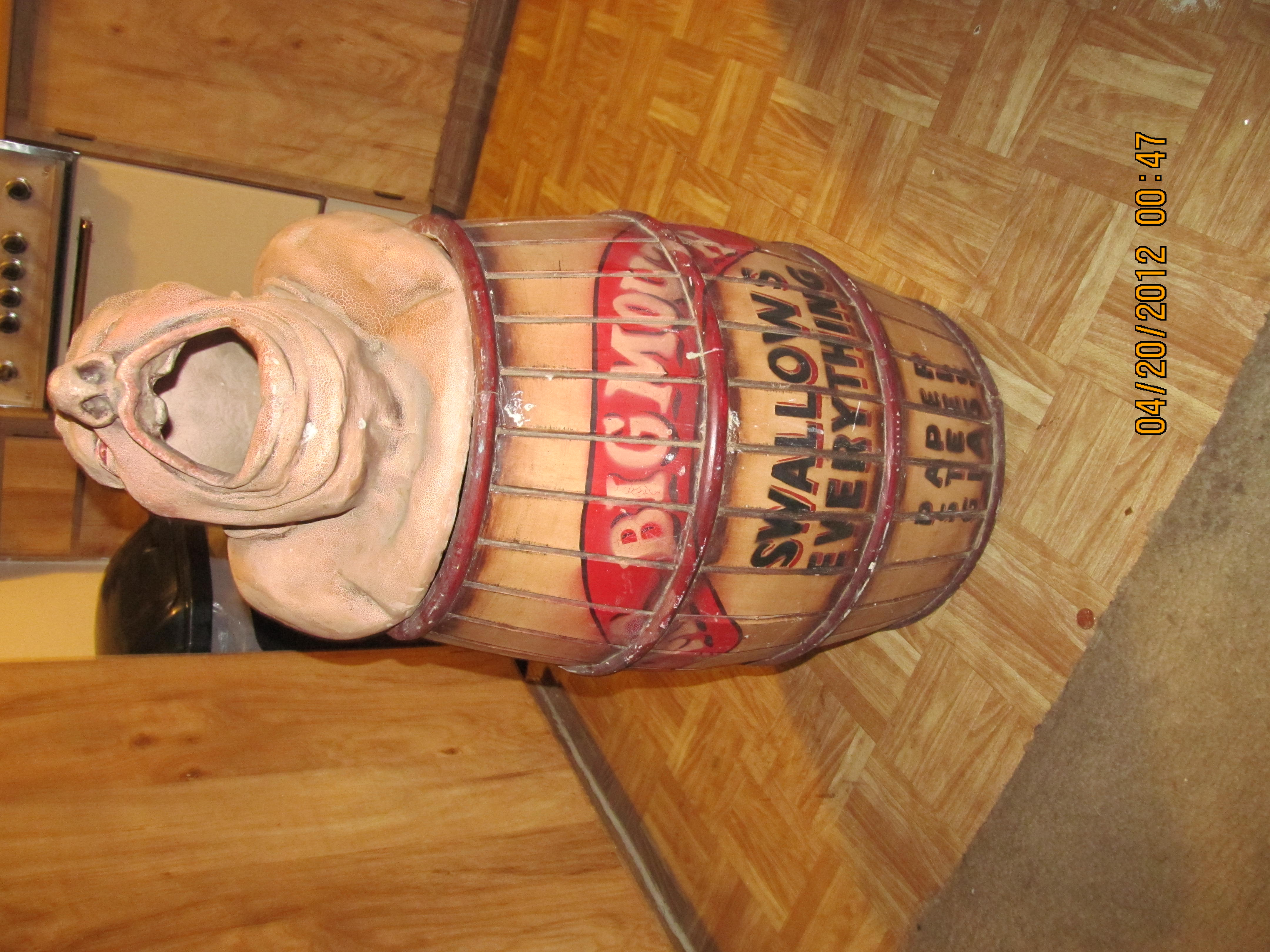 Vintage Mr Big Mouth Carnival Amusement Park Trash Can