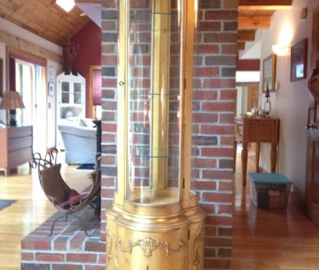 For Sale Antique Gilded Curio Alonzi Furniture Chicago X  Curved Glass Illuminated