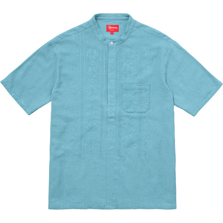 Embroidered Band Collar S/S Shirt (Dusty Teal)