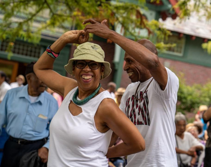 Dancers responding to the music at the Harlem Meer Performance Festival