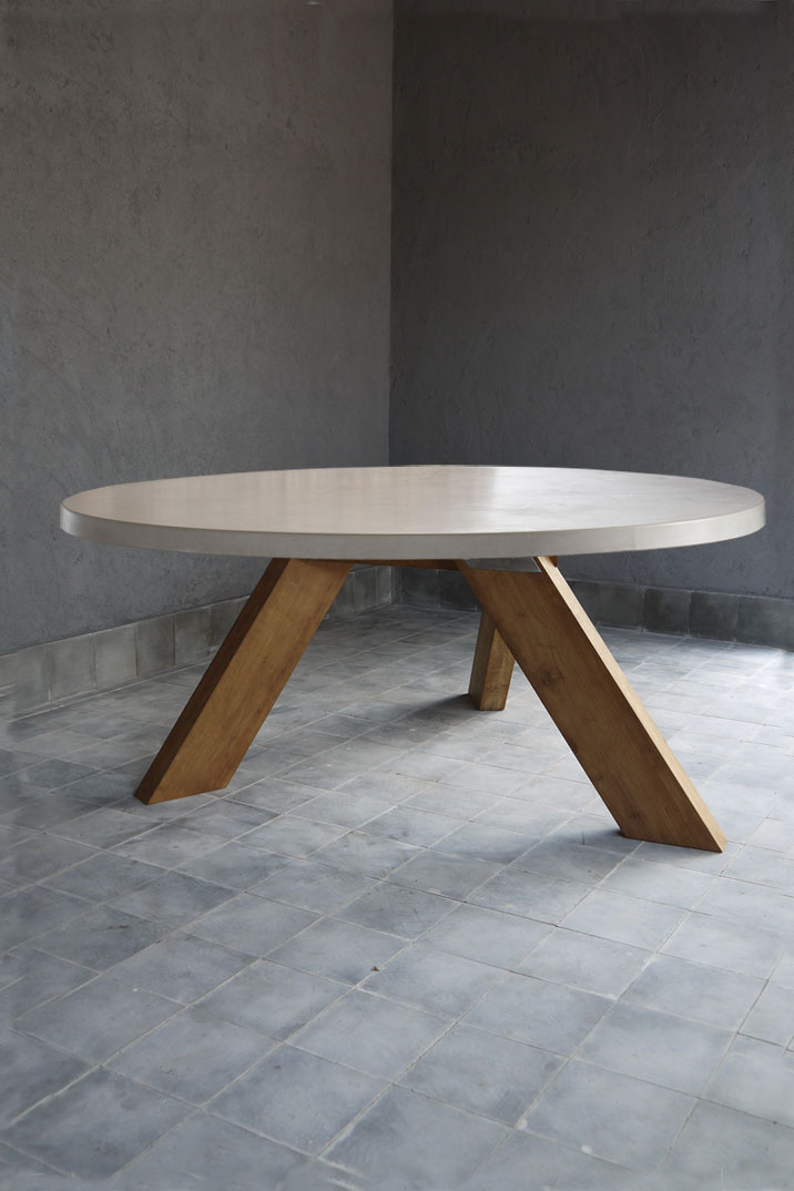 Modern Outdoor Concrete And Teak Dining Table Mecox Gardens