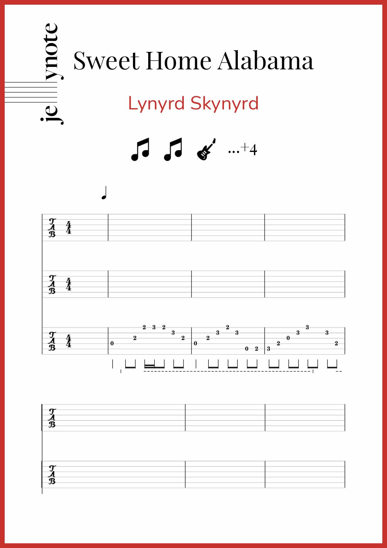 I miss 'ole' 'bamy once again. Lynyrd Skynyrd Sweet Home Alabama Guitar And Bass Sheet Music Jellynote