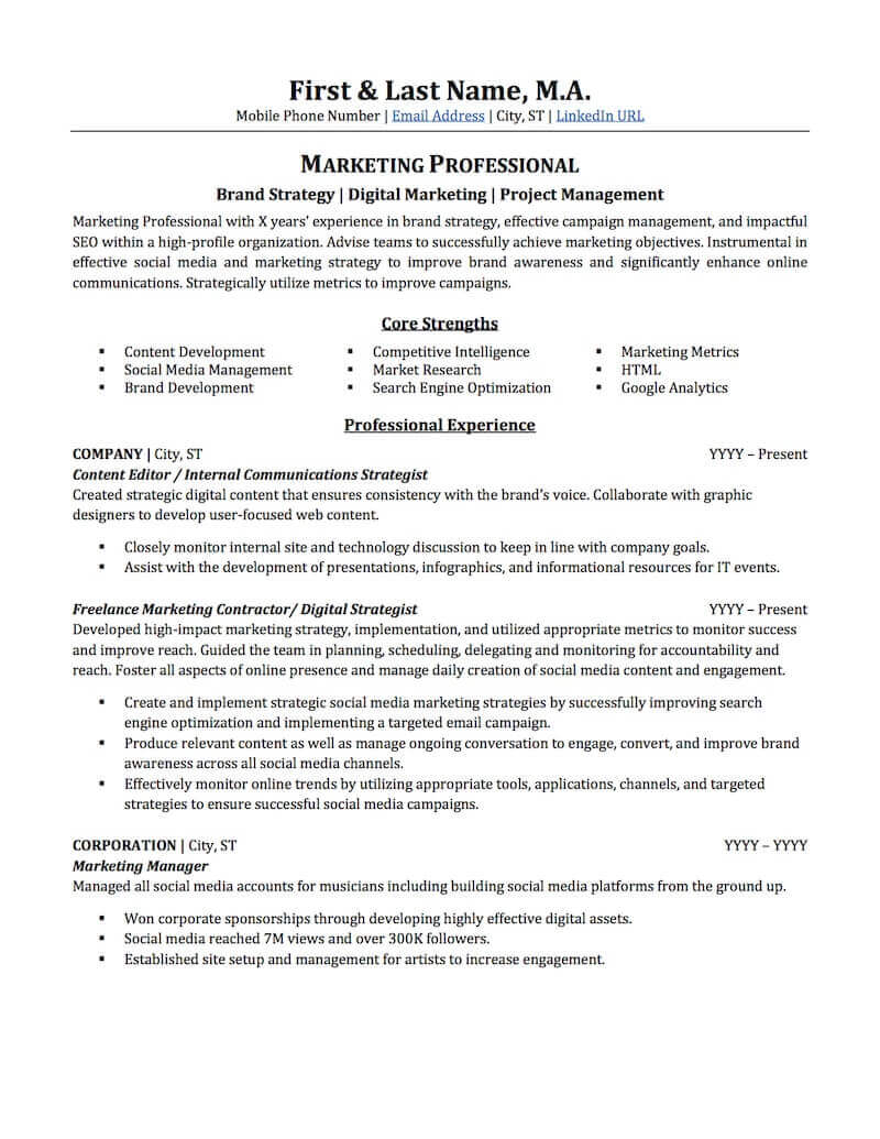 There are plenty of opportunities to land a email marketing specialist job position, but it won't just be handed to you. Advertising Marketing Resume Sample Professional Resume Examples Topresume