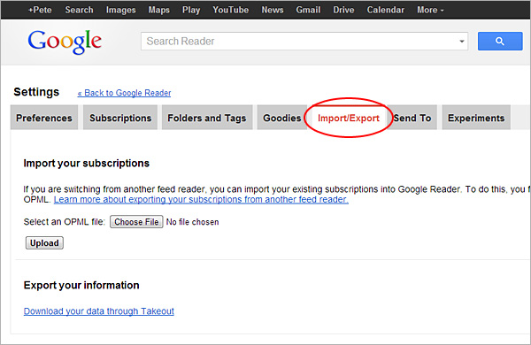 Google Reader export, step 1