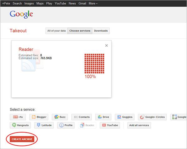 Google Reader export, step 3