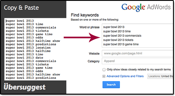 Ubersuggest and Google Keyword Tool