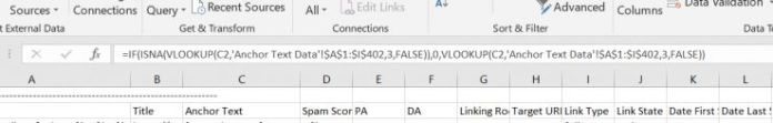 Excel formula: =IF(ISNA(VLOOKUP(C2,'Anchor Text Data'!$A$1:$I$402,3,FALSE)),0,VLOOKUP(C2,'Anchor Text Data'!$1:$I$402,3,FALSE))
