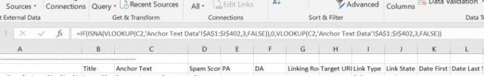 Fórmula de Excel: = IF (ISNA (BUSCARV (C2, 'Datos de texto ancla'! $ A $ 1: $ I $ 402,3, FALSO)), 0, BUSCARV (C2, 'Datos de texto ancla'! $ 1: $ I $ 402, 3, FALSO))