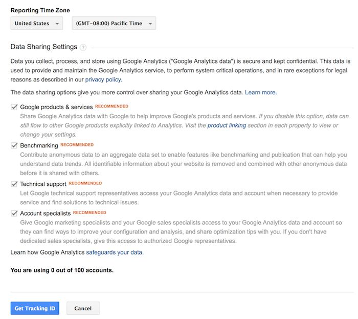 configuring shared info for google analytics