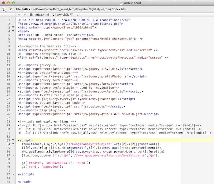 adding google analytics tracking code to head tag