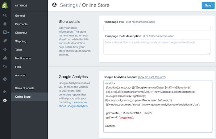 adding google analytics tracking code to shopify account